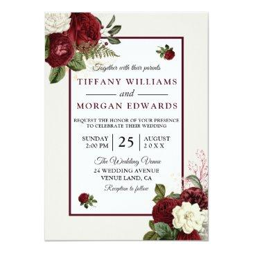 Small Elegant Romantic Burgundy Floral Wedding Invite Front View