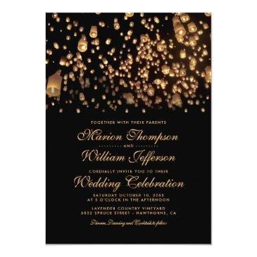 elegant rustic candle love wish lanterns wedding invitations