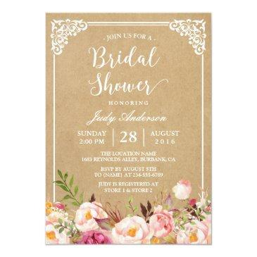 Small Elegant Rustic Floral Frame Kraft | Bridal Shower Front View