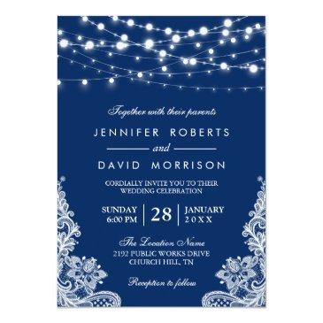 Small Elegant String Lights White Lace Navy Blue Wedding Invitation Front View