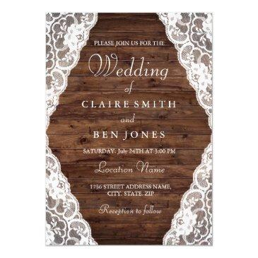 elegant vintage rustic wood lace wedding invite