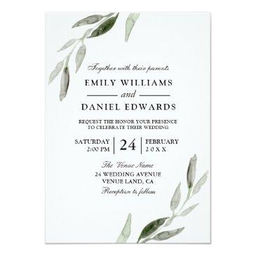 Small Elegant Watercolor Green Leaf Wedding Invite Front View