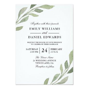 Small Elegant Watercolor Leaf Spring Fall Wedding Invite Front View