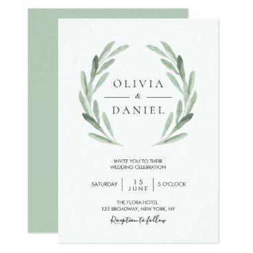 elegant watercolor olive leaf wreath green wedding