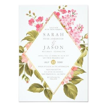 Small Elegant Watercolor Roses & Blossom Floral Wedding Invitationss Front View