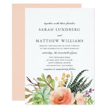 elegant watercolor succulent | wedding invitations