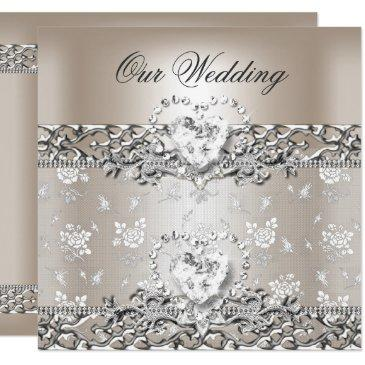 elegant wedding silver cream diamond heart invitation