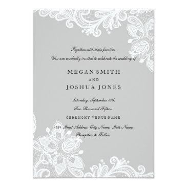 Small Elegant White Gray Lace Wedding Front View