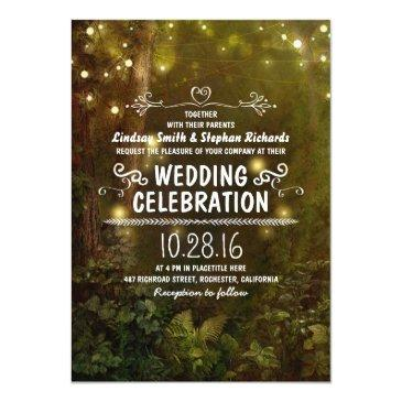 enchanted forest string lights wedding invitation