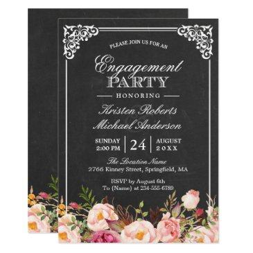 engagement party vintage pink floral chalkboard