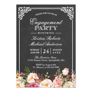 Small Engagement Party Vintage Pink Floral Chalkboard Invitation Front View