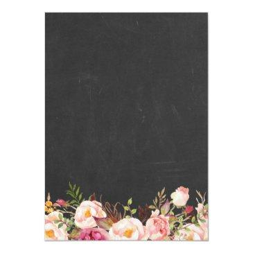 Small Engagement Party Vintage Pink Floral Chalkboard Invitation Back View