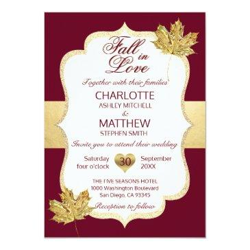 Small Fall Autumn Burgundy Gold Fall In Love Wedding Invitationss Front View
