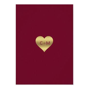 Small Fall Autumn Burgundy Gold Fall In Love Wedding Invitationss Back View
