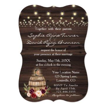 fall burgundy wine barrel floral barn wedding invitation