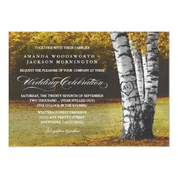 Small Fall Carved Heart Birch Tree Wedding Front View
