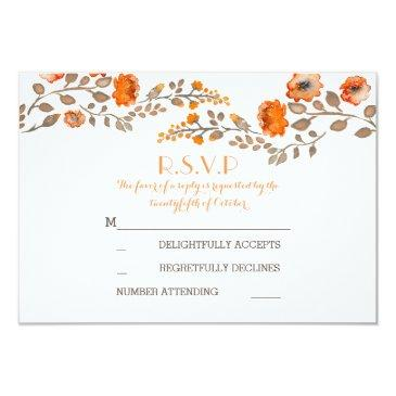 fall flowers watercolor painted wedding rsvp
