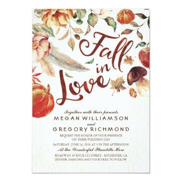 fall in love boho rustic floral pumpink wedding invitations