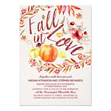fall in love floral pumpkin rustic country wedding invitation