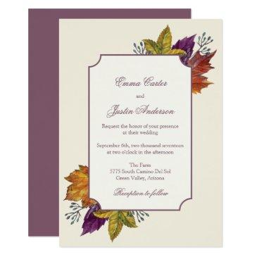fall rustic watercolor autumn leaves wedding