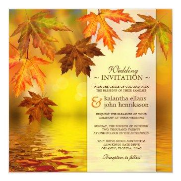 fall wedding  with fall leaves