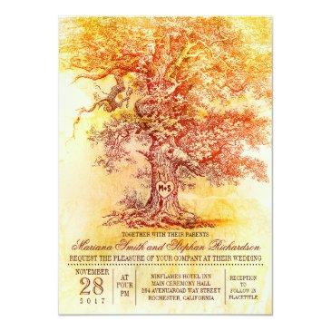fall wedding  with old oak tree