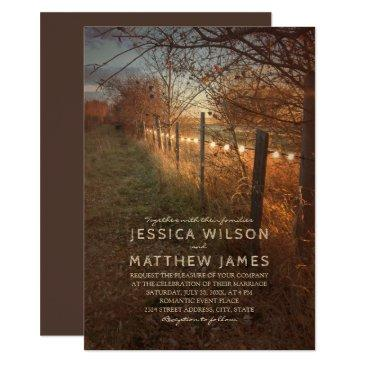 fall wedding  rustic autumn farm lights