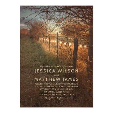 Small Fall Wedding Invitationss Rustic Autumn Farm Lights Front View