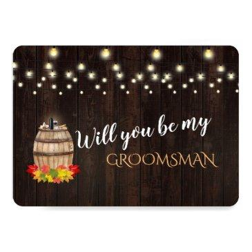 fall wine barrel will you be my groomsman invitations