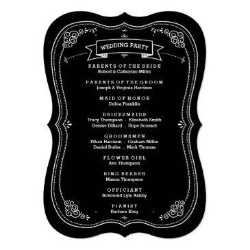 Small Fancy Chalkboard Vintage Wedding Program Invitationss Back View