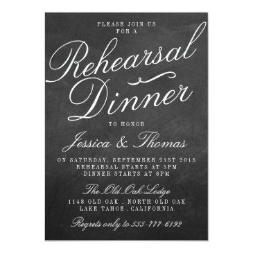 Small Fancy Chalkboard Wedding Rehearsal Dinner Invitation Front View