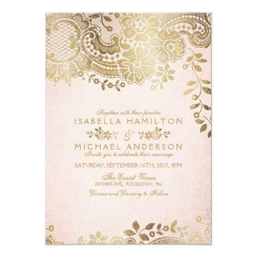 Small Faux Gold Blush Elegant Vintage Lace Wedding Invitationss Front View