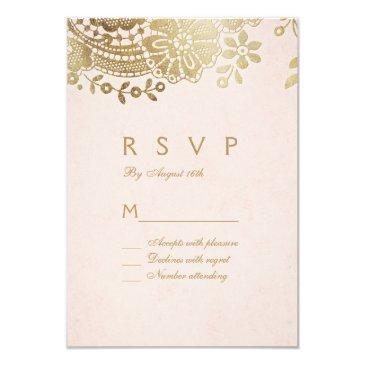 faux gold blush elegant vintage lace wedding rsvp