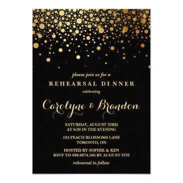 faux gold foil confetti | black rehearsal dinner