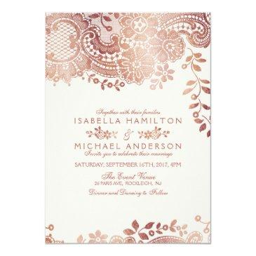 Small Faux Rose Gold Elegant Vintage Lace Wedding Invitationss Front View