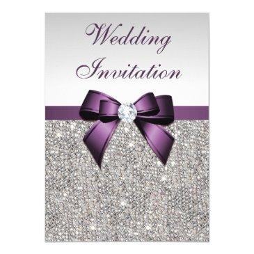 faux silver sequins diamonds purple bow wedding