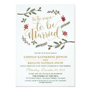 festive holiday christmas wedding invitation