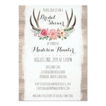 Small Floral Antlers Rustic Wedding Bridal Shower Custom Invitationss Front View