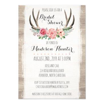 floral antlers rustic wedding bridal shower custom