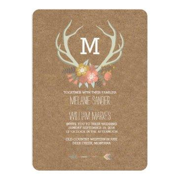Small Floral Antlers | Rustic Wedding Invitations Front View