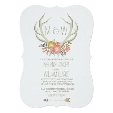 Small Floral Antlers | Rustic Wedding Front View
