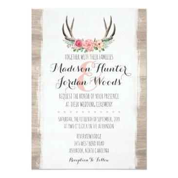 Small Floral Antlers Rustic Wedding Personalized Formal Invitationss Front View