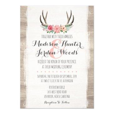 floral antlers rustic wedding personalized formal invitations
