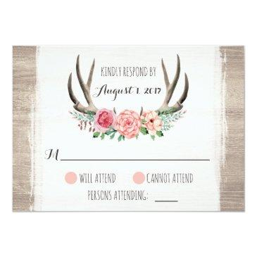 Small Floral Antlers Rustic Wedding Personalized Rsvp Invitationss Front View