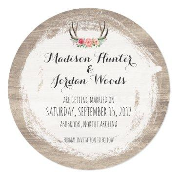 Small Floral Antlers Rustic Wedding | Save The Date Invitation Back View