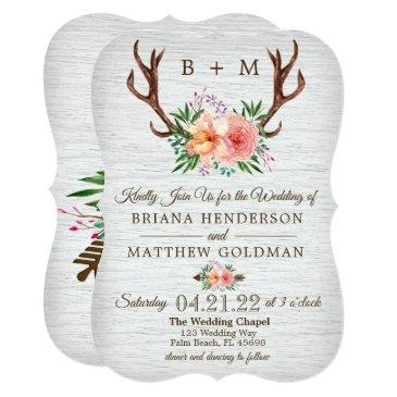 floral antlers wedding invitations peach