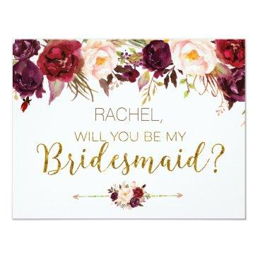 floral autumn will you be my bridesmaid