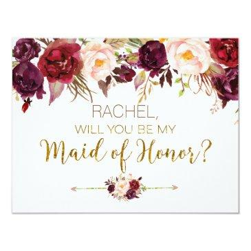 floral autumn will you be my maid of honor