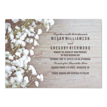 floral- baby's breath rustic summer simple wedding invitations