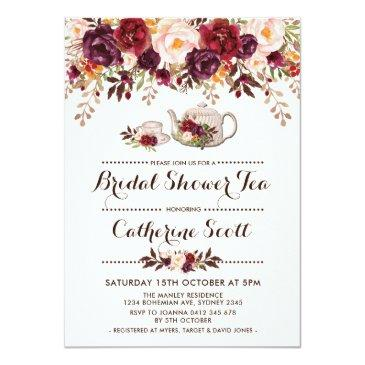 Small Floral Boho Bridal Shower Tea Party Invitations Front View